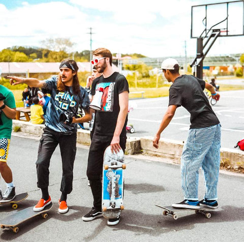 skateboarders hanging out