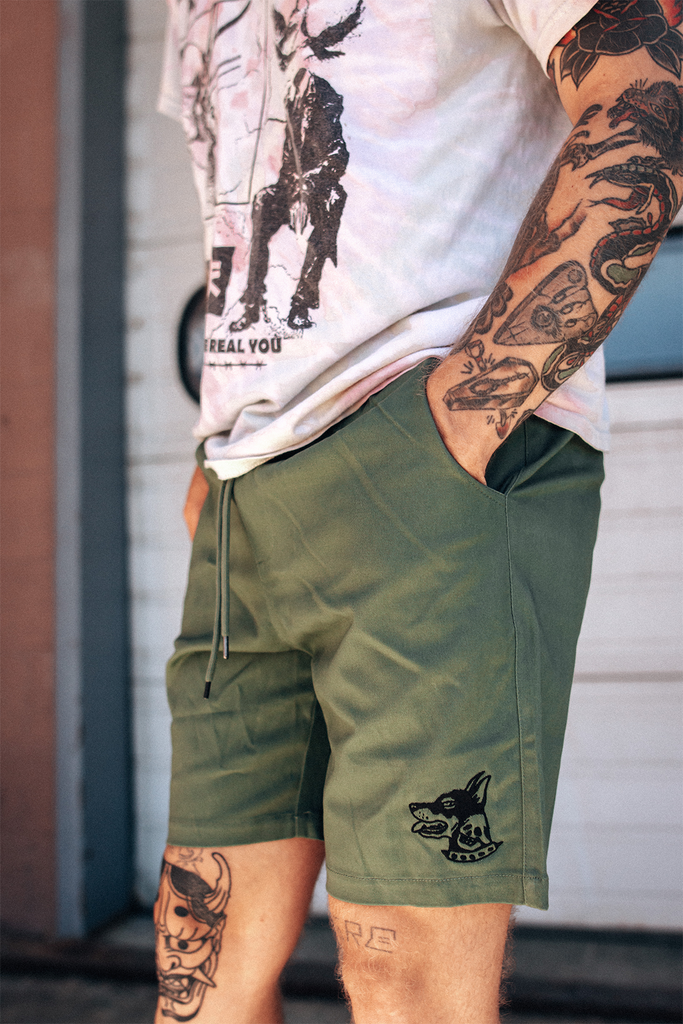 Cruiser Tattoo Inspired Embroidered Shorts