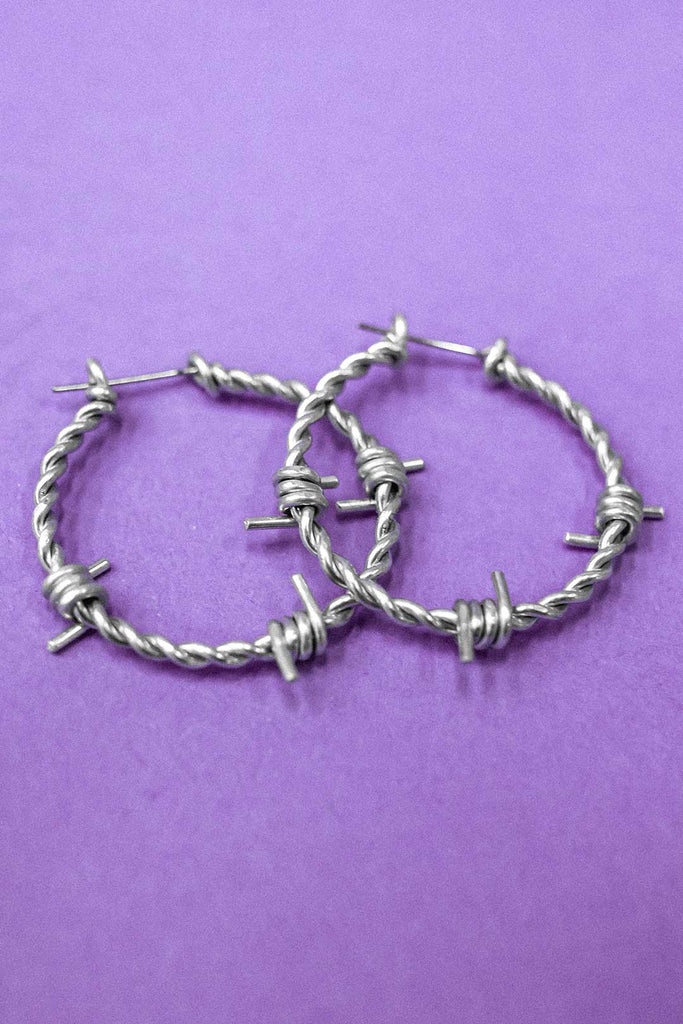 Barbed Wire Hoop Earrings