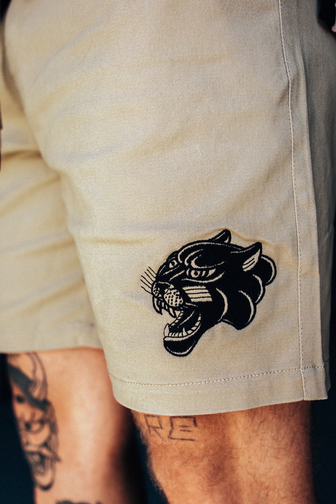 Cruiser Tattoo Inspired Embroidered Skate Shorts