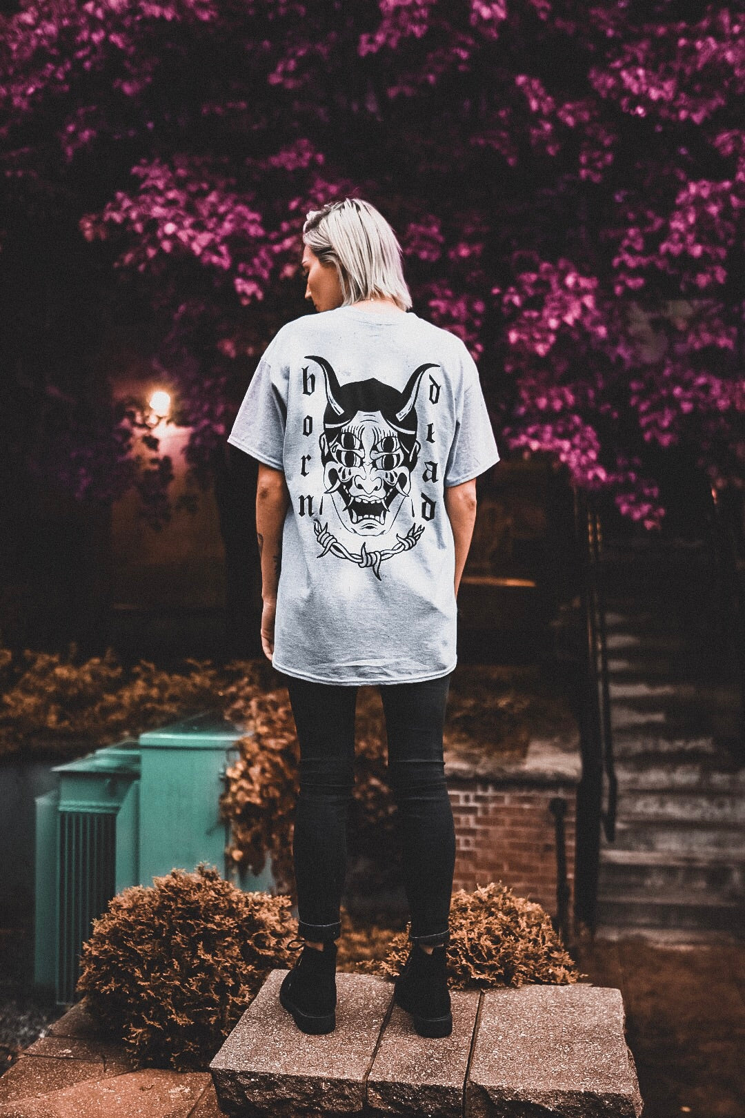"""Hannya Mask"" Tee (Heather Grey)"
