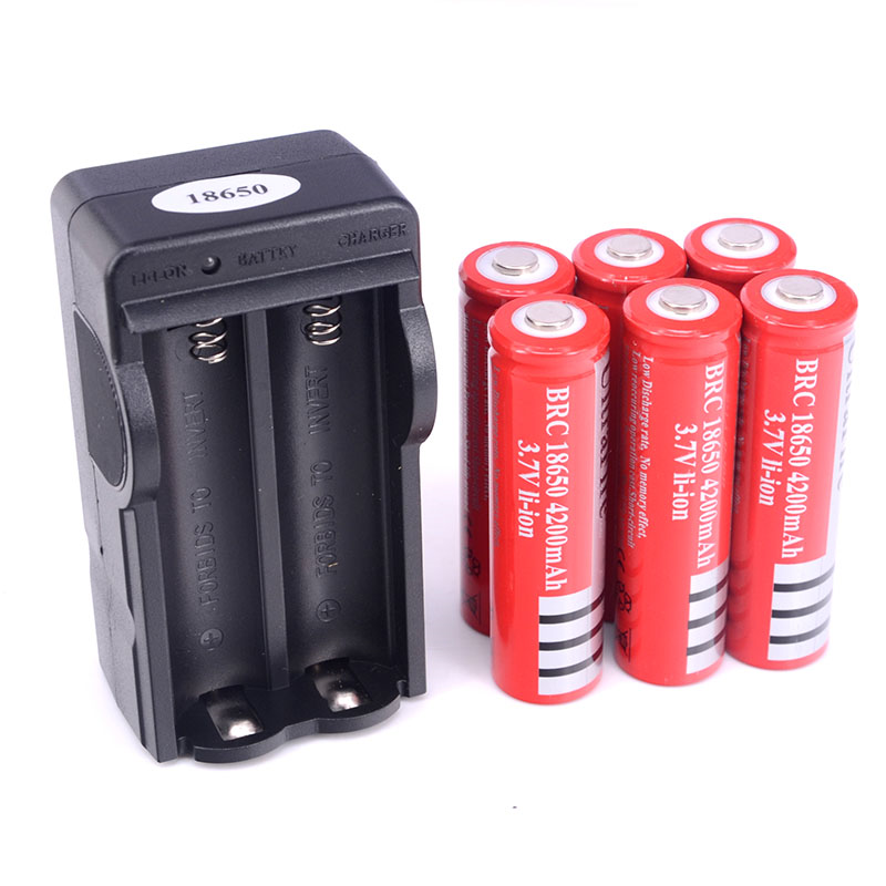 18650 Rechargeable Battery + Dual Wall Charger - 6 Pieces