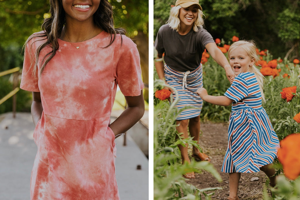 4th of July Tie Dye Dress - Mommy and Me Striped Dress