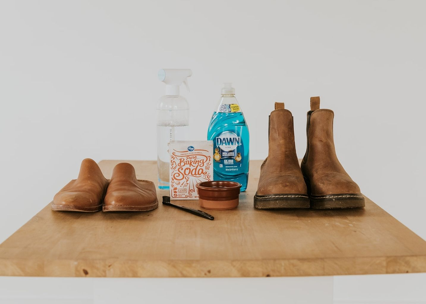how to clean leather shoes with household items