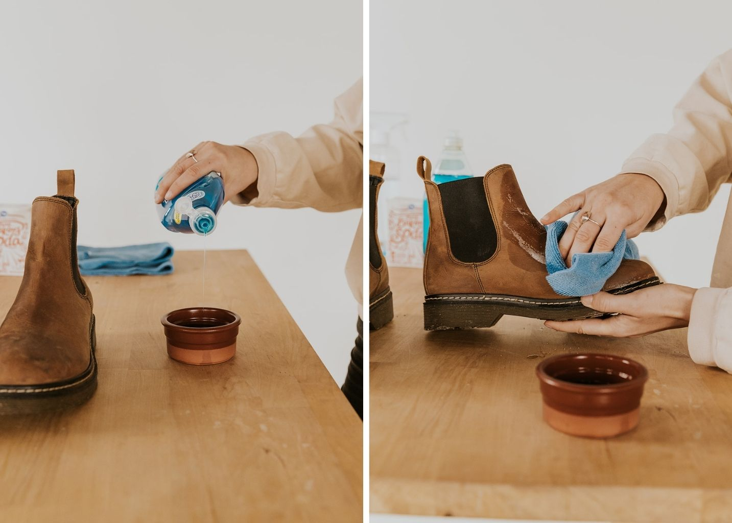easy ways to clean leather shoes with household items