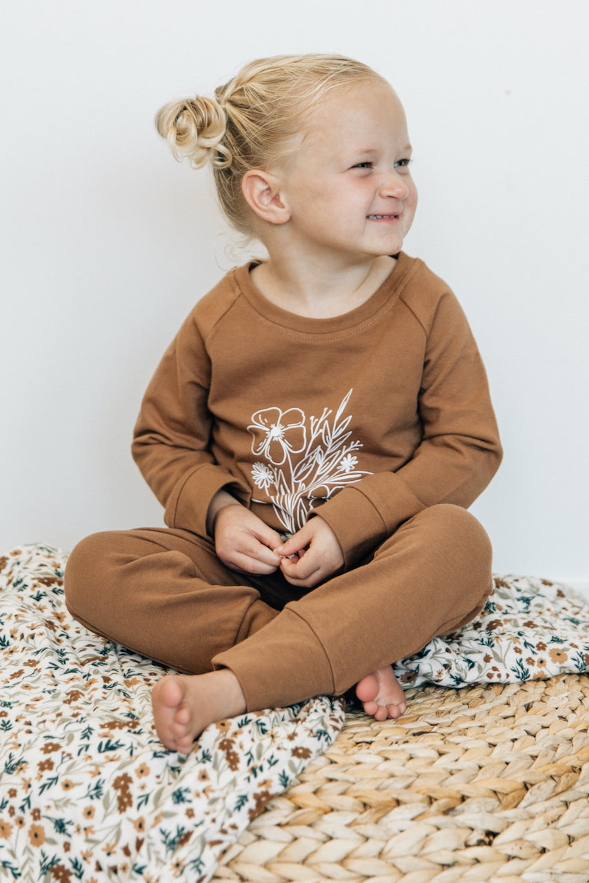Long sleeve floral pullover for kids | ROOLEE