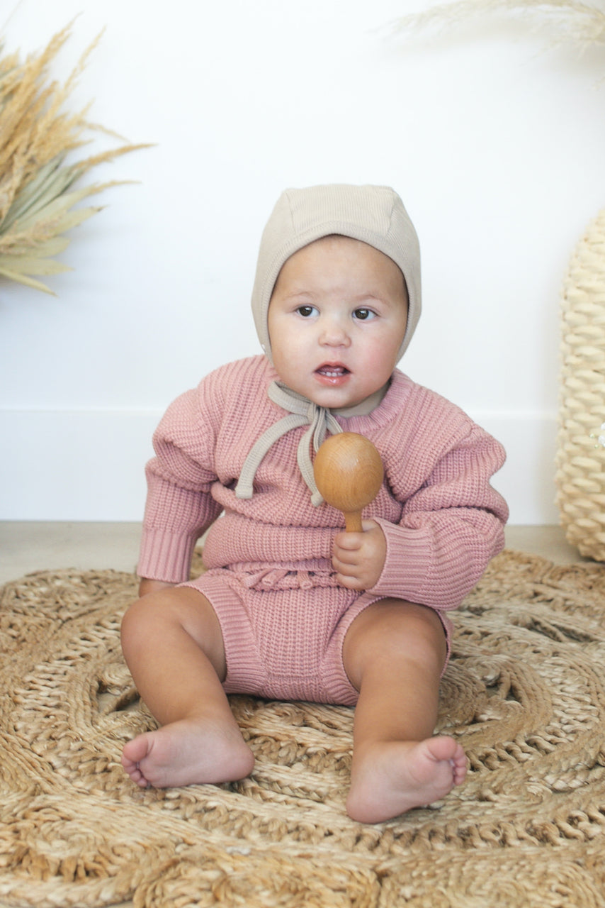 Pink baby fall knit set | ROOLEE
