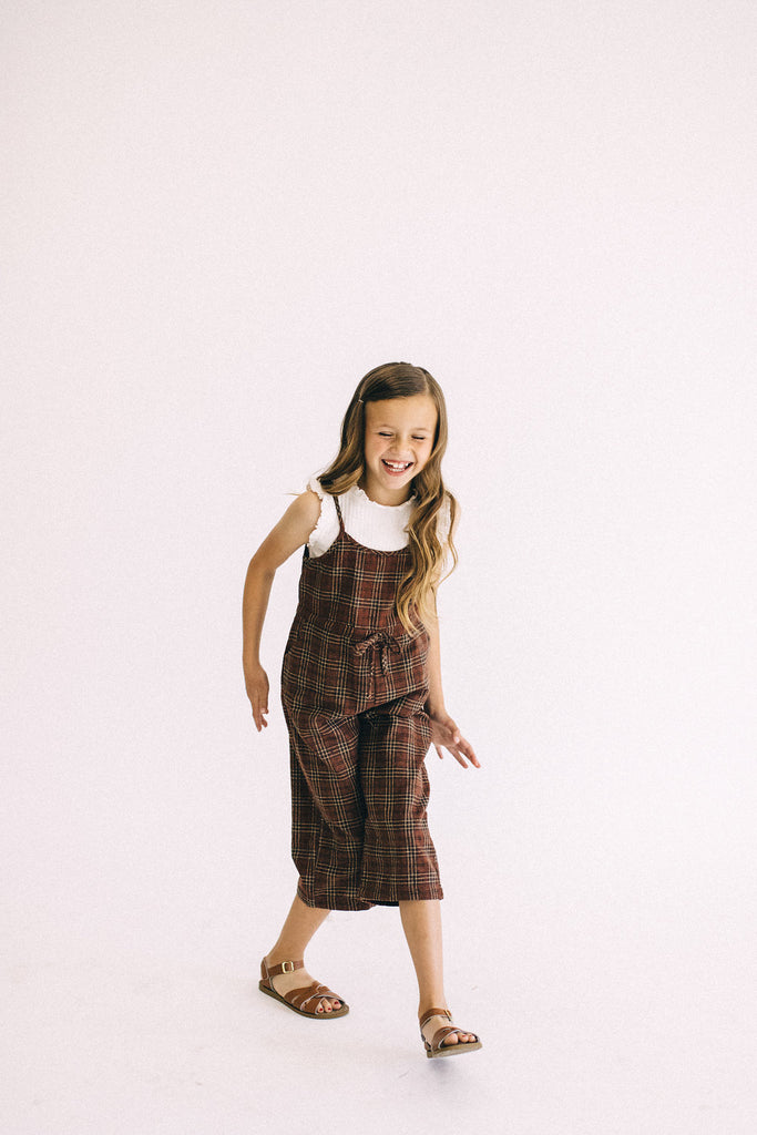 Burgundy Plaid Jumpsuit | ROOLEE Kids