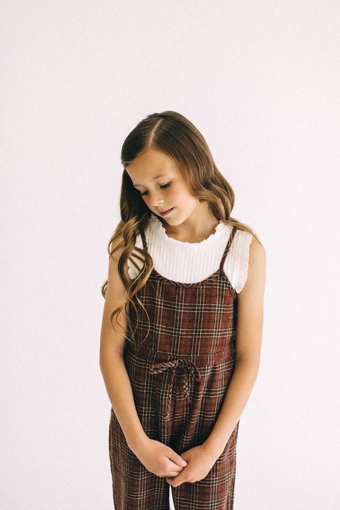 Red + Brown Plaid Jumpsuit | ROOLEE Kids