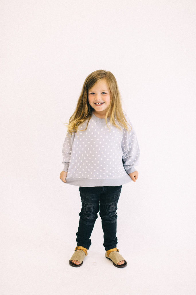 Grey + White Polka Dot Sweatshirt | ROOLEE Kids