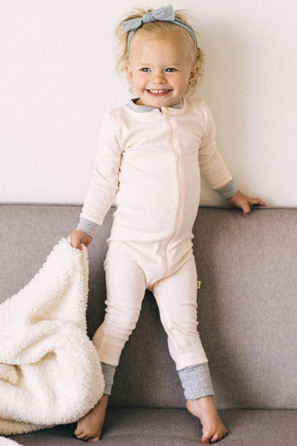 Primary Stripe Coverall in Blush | ROOLEE Kids