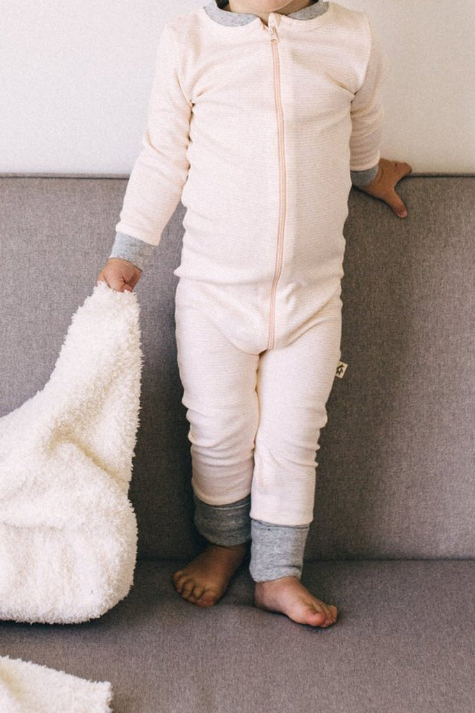 Pink + Grey Stripe Onesie | ROOLEE Kids