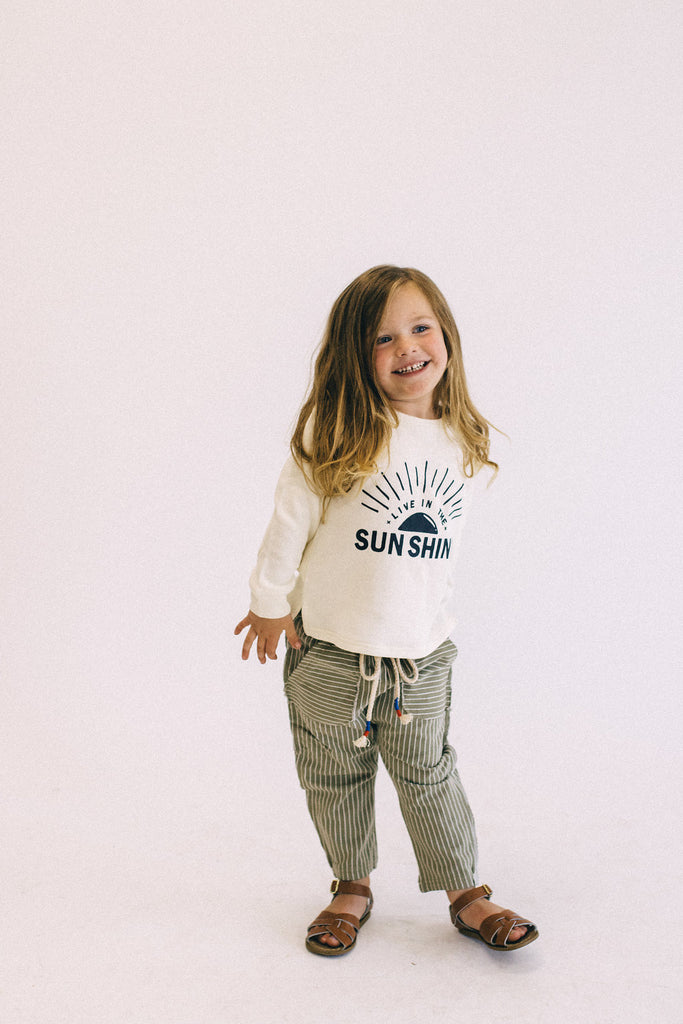 Olive + White Stripe Comfy Pants | ROOLEE Kids