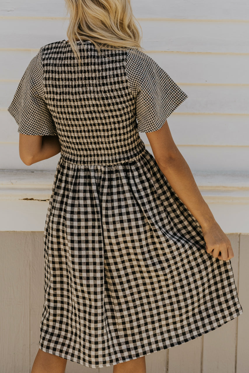 Modest flutter sleeve grid dress | ROOLEE