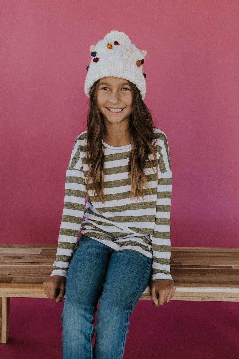 Girls stripe Christmas outfits | ROOLEE