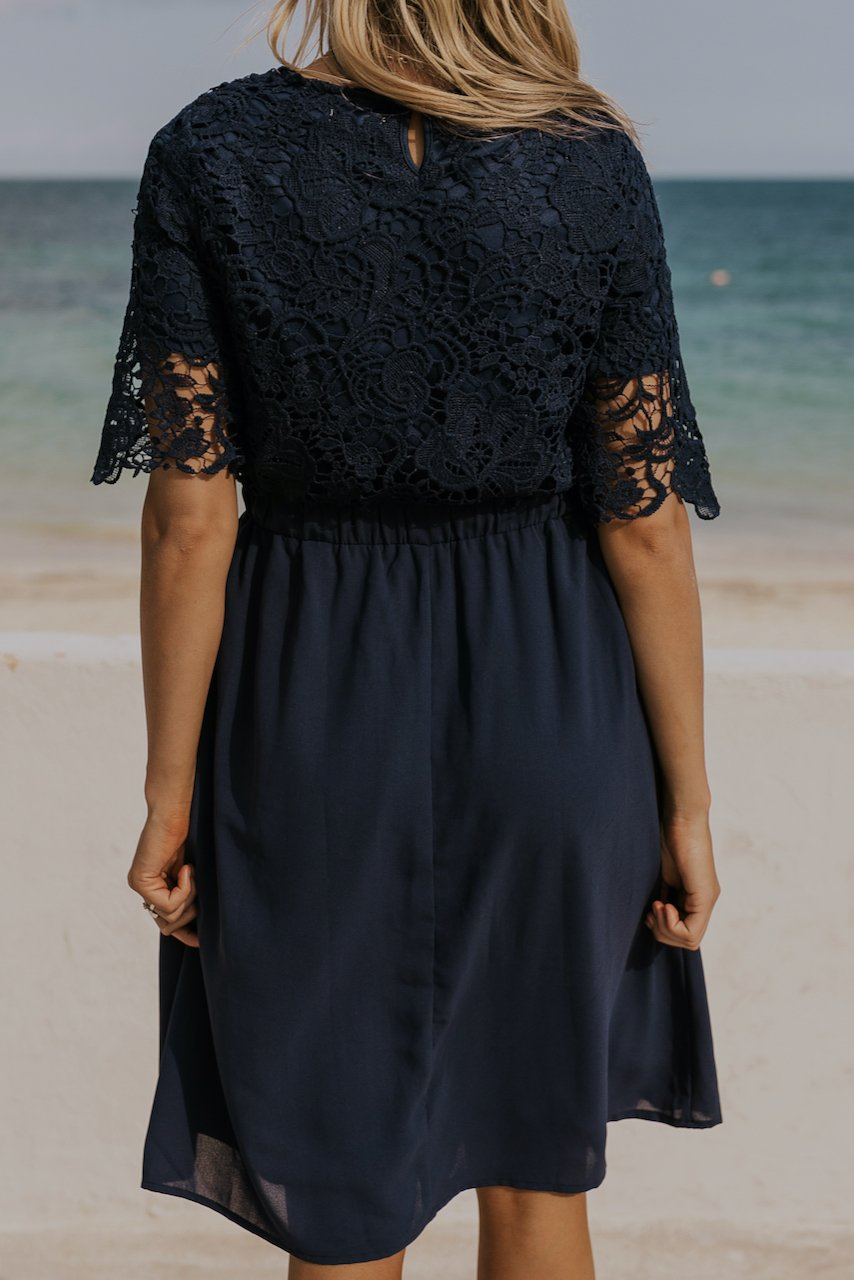 Navy lace dress | ROOLEE