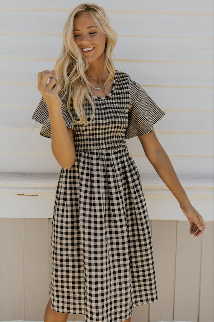 Black checkered dress | ROOLEE