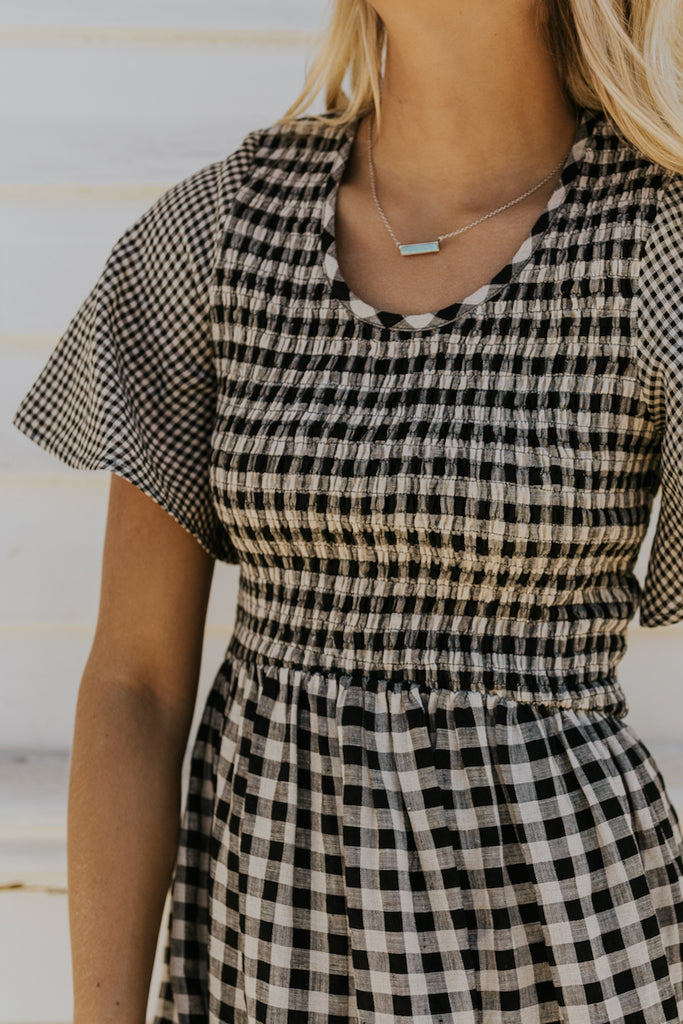Black mini check dress | ROOLEE