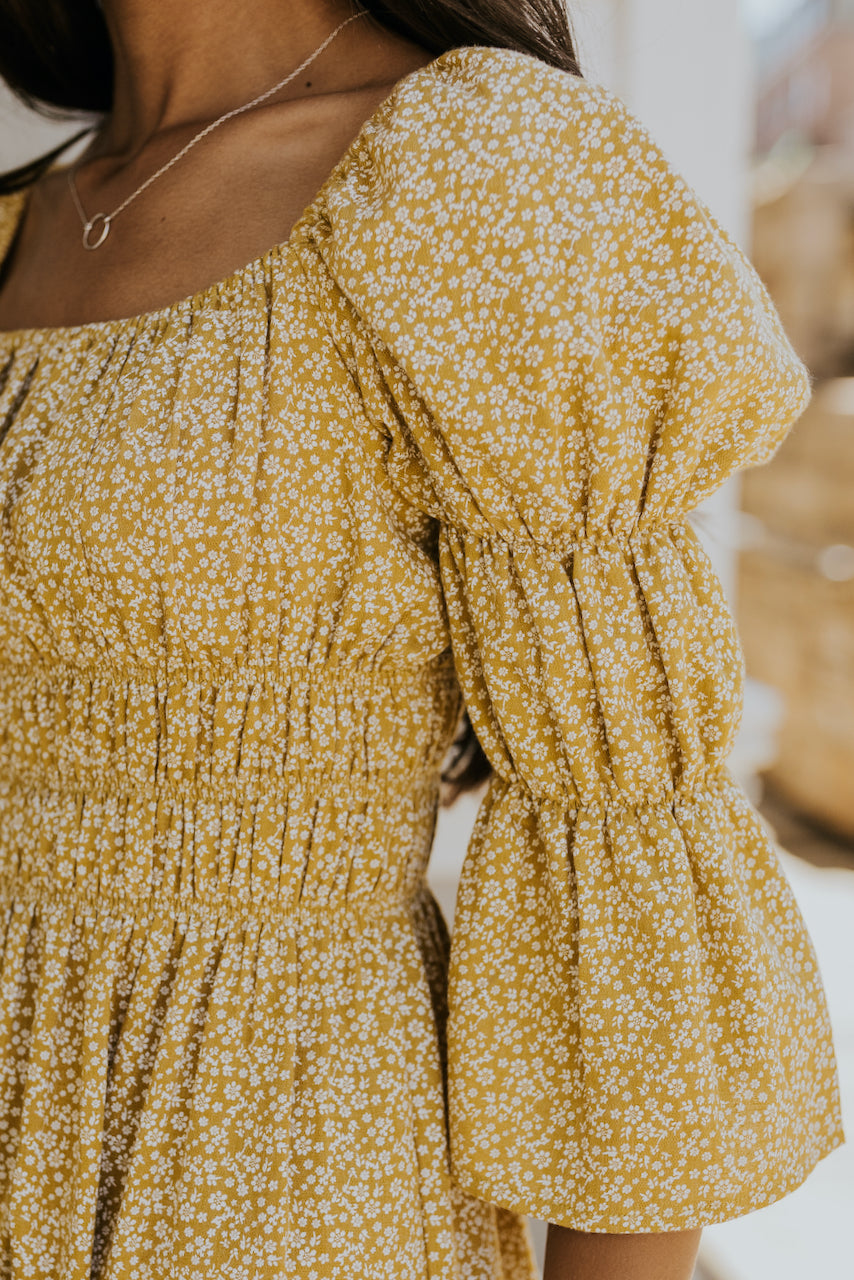 Floral print yellow mini dress | ROOLEE