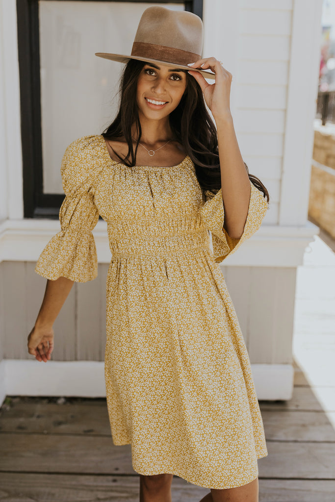 Yellow bubble sleeve floral dress | ROOLEE