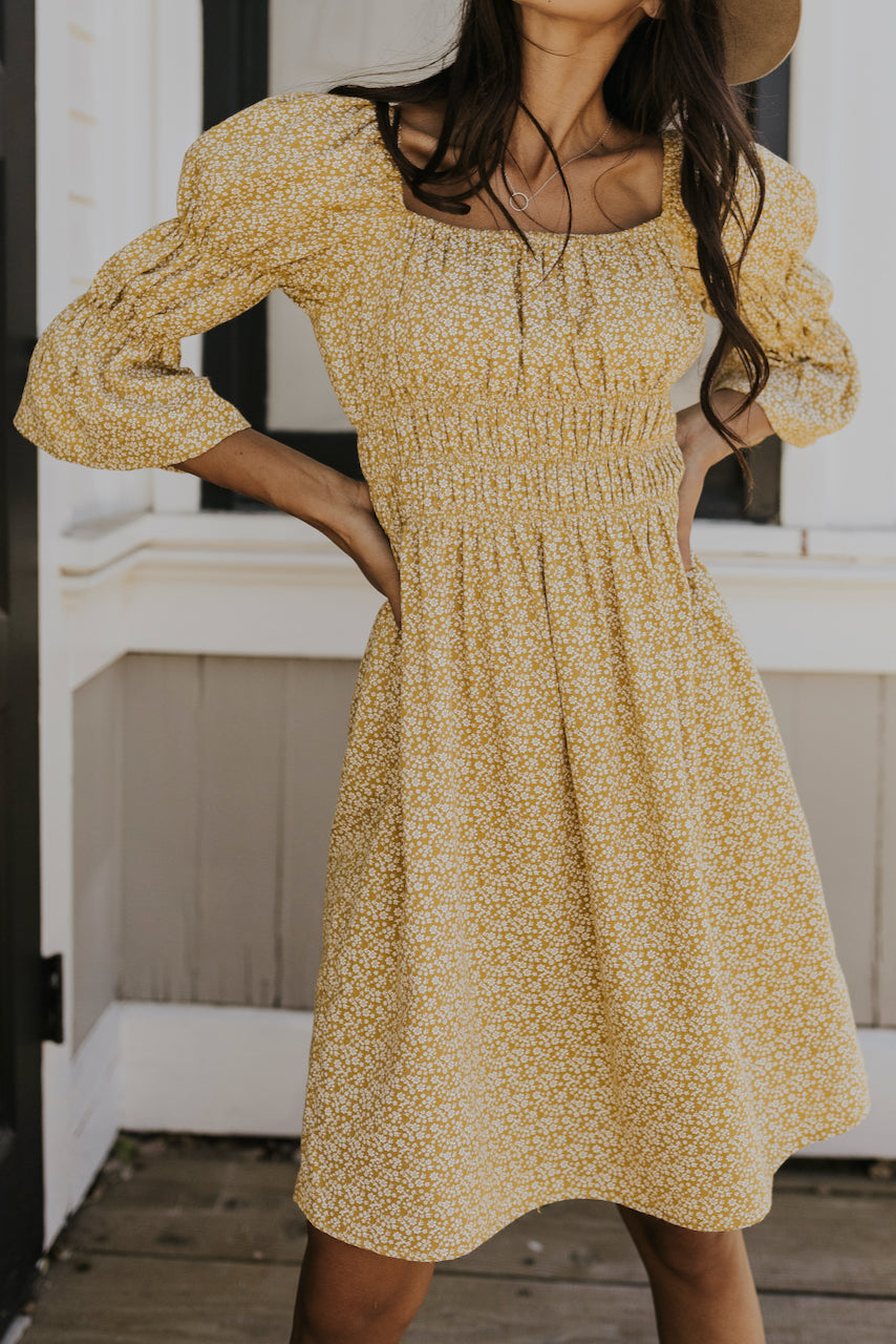 Yellow floral midi dress for fall | ROOLEE