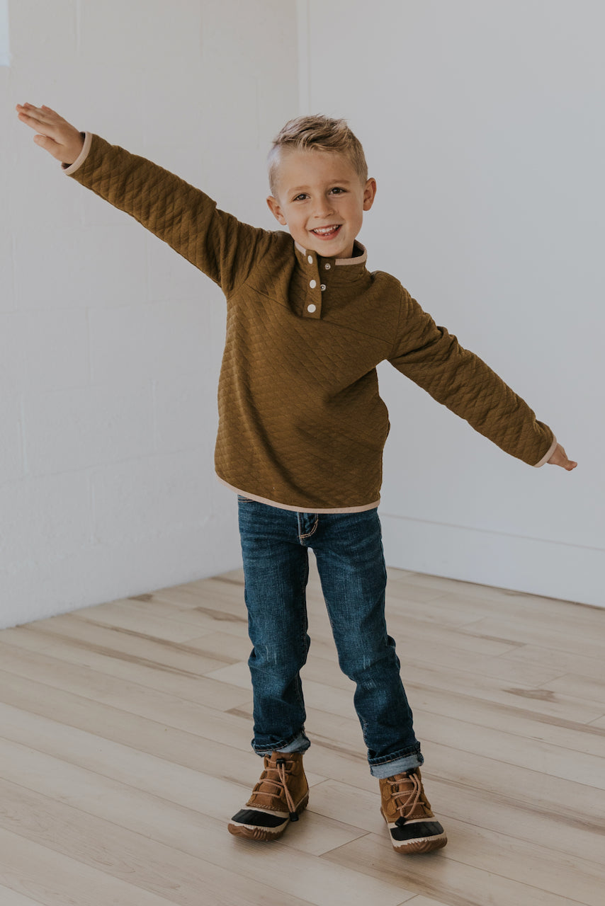 Quilted brown kids pullover | ROOLEE