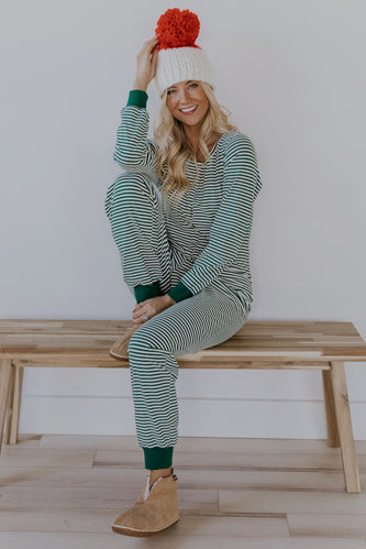 Stripe green christmas pajama set | ROOLEE
