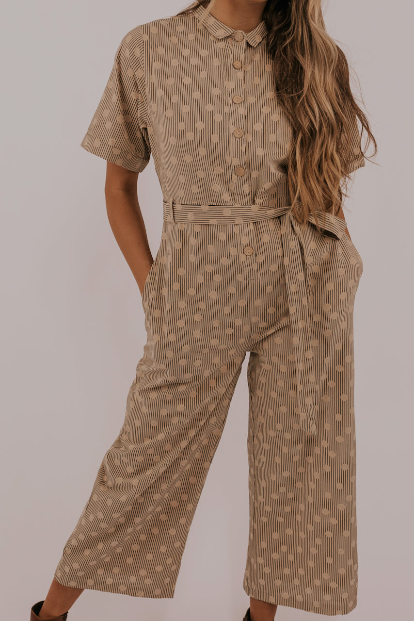 Wide leg tan women's jumpsuit | ROOLEE