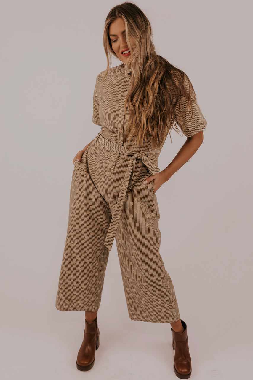 Tan stripe collared jumpsuit | ROOLEE