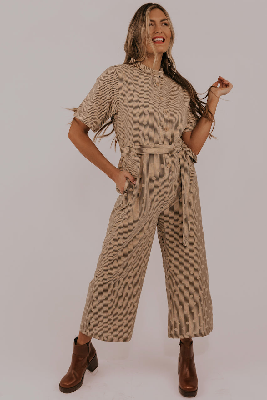 Tan stripe women's jumpsuit | ROOLEE