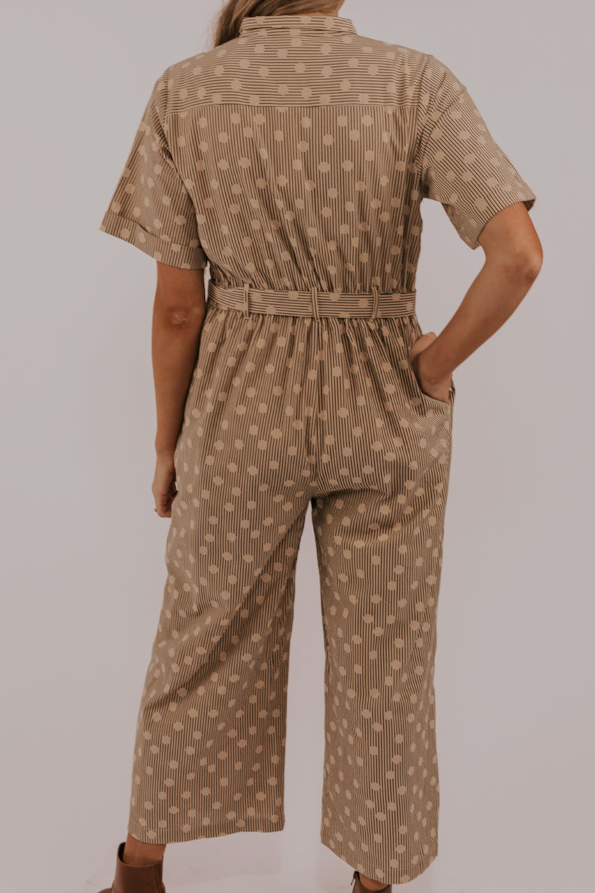 Brown button up jumpsuit | ROOLEE