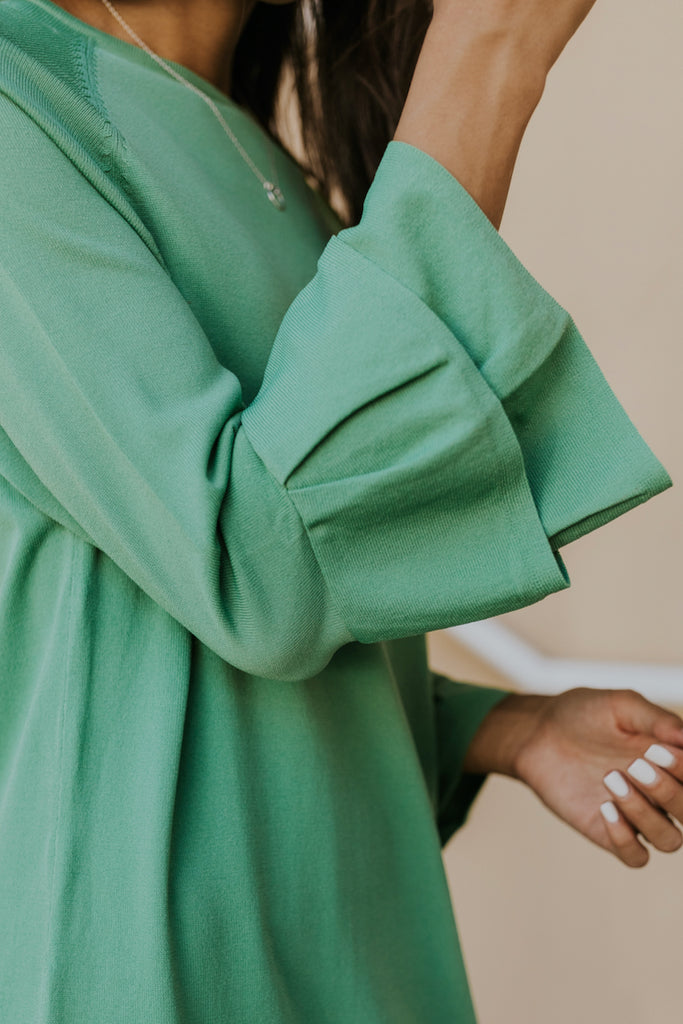Flutter sleeve shift dress in green | ROOLEE