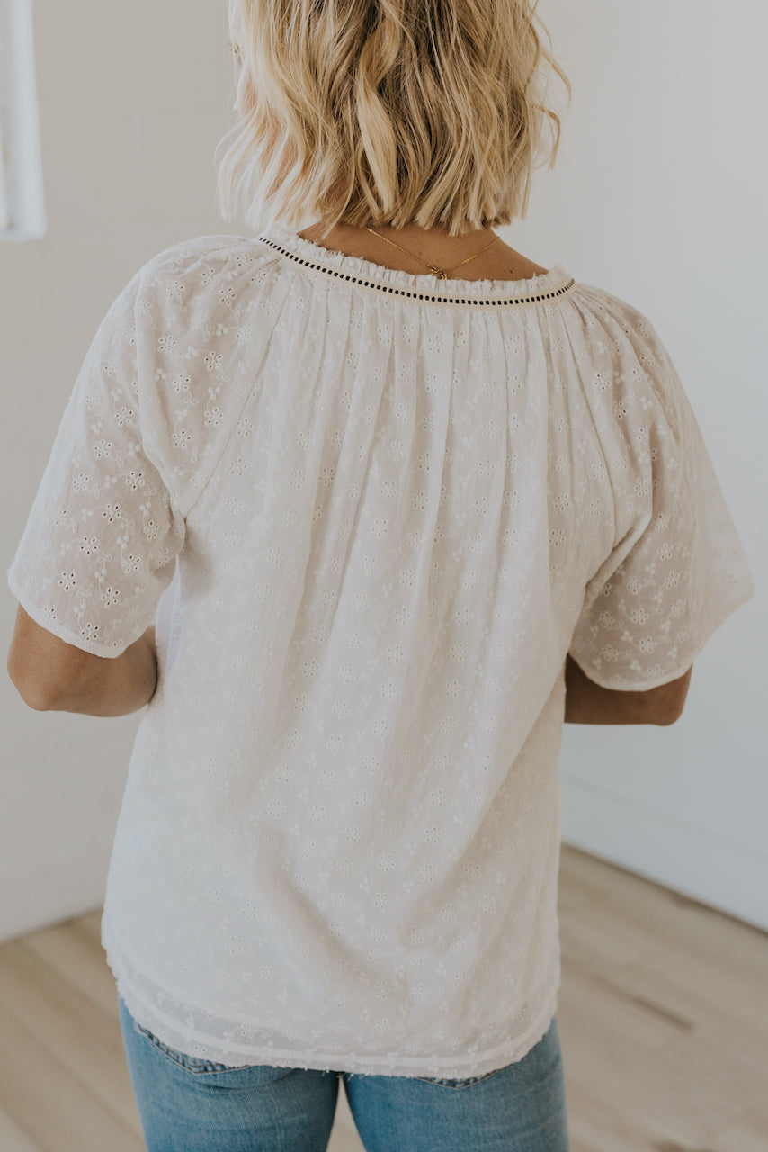 Cute eyelet sleeve detail tops | ROOLEE