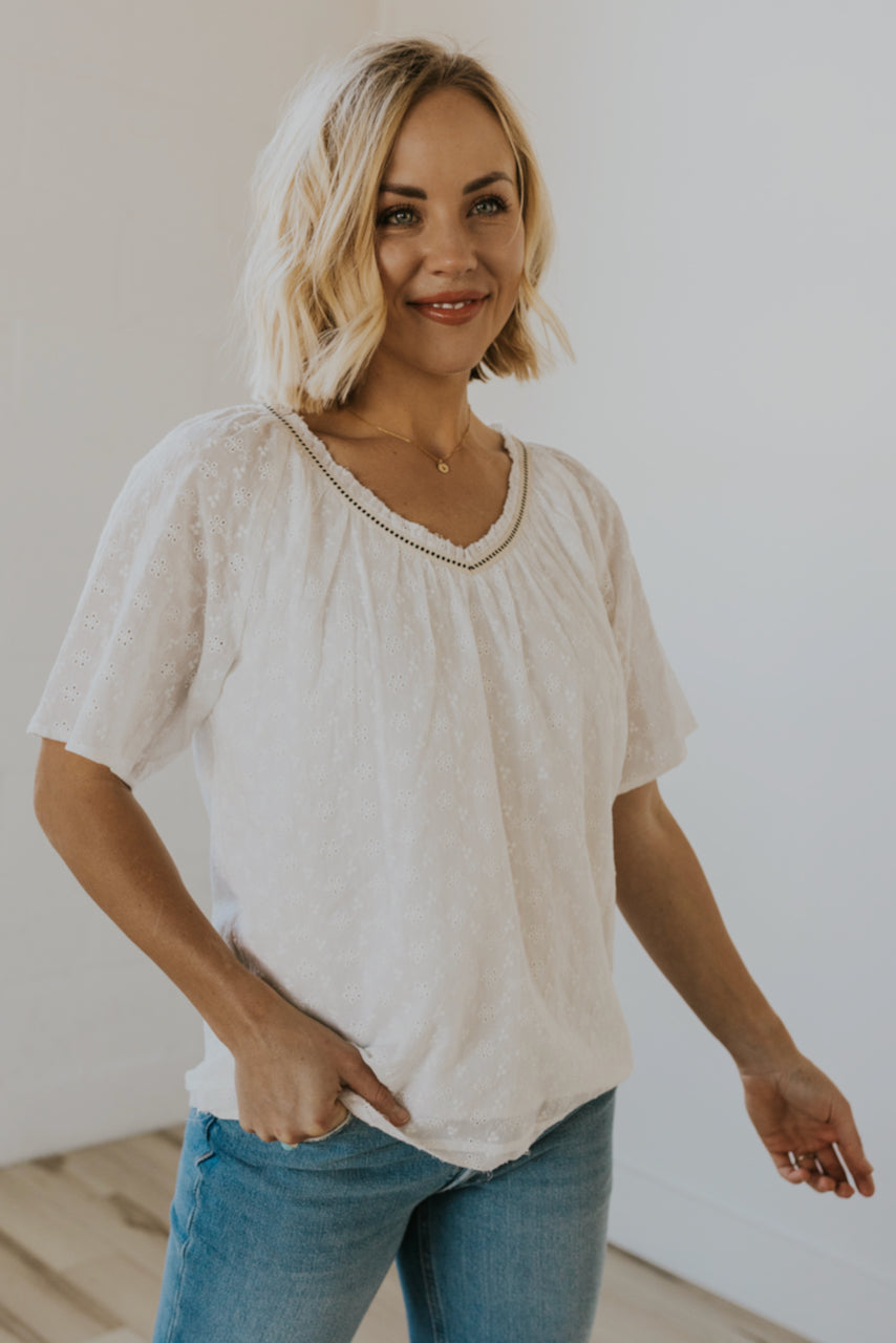 White detailed blouses | ROOLEE