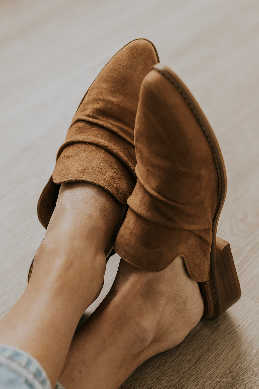 Low heel brown slide on mules | ROOLEE
