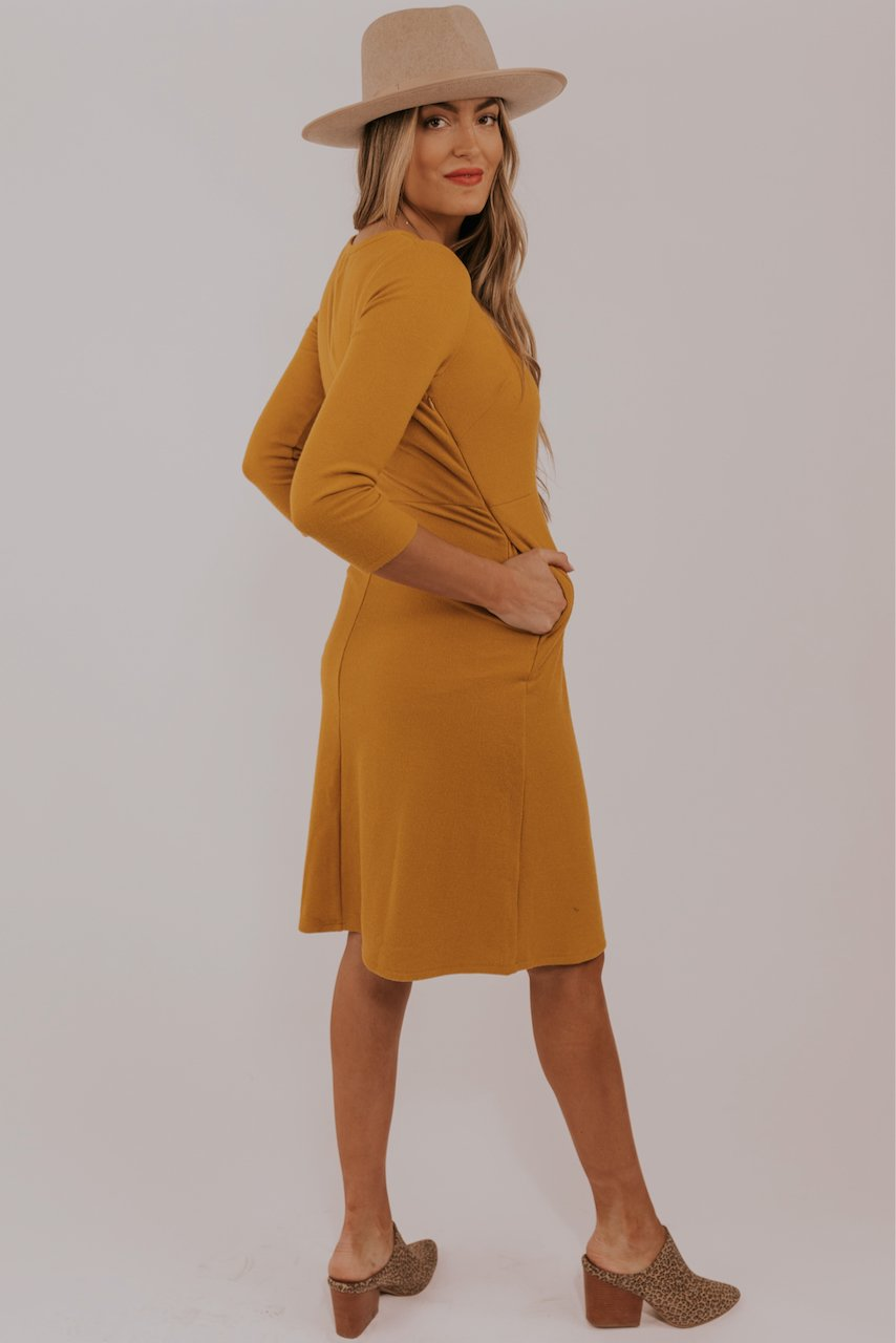 Short Mustard Maternity Friendly Dresses | ROOLEE