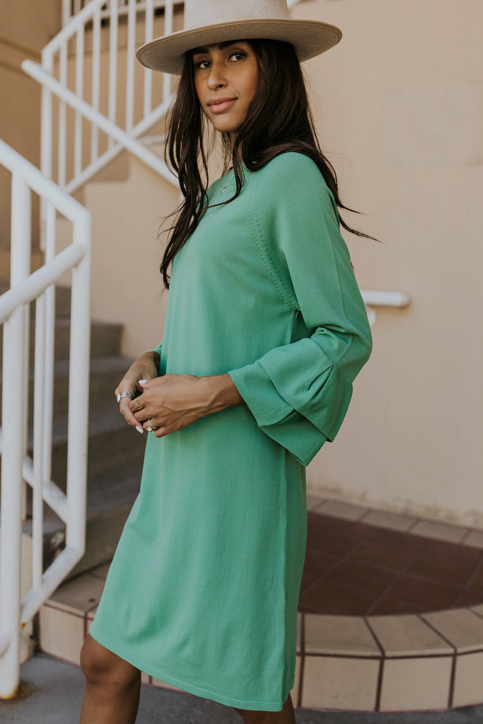 Modest knee length green formal dress | ROOLEE