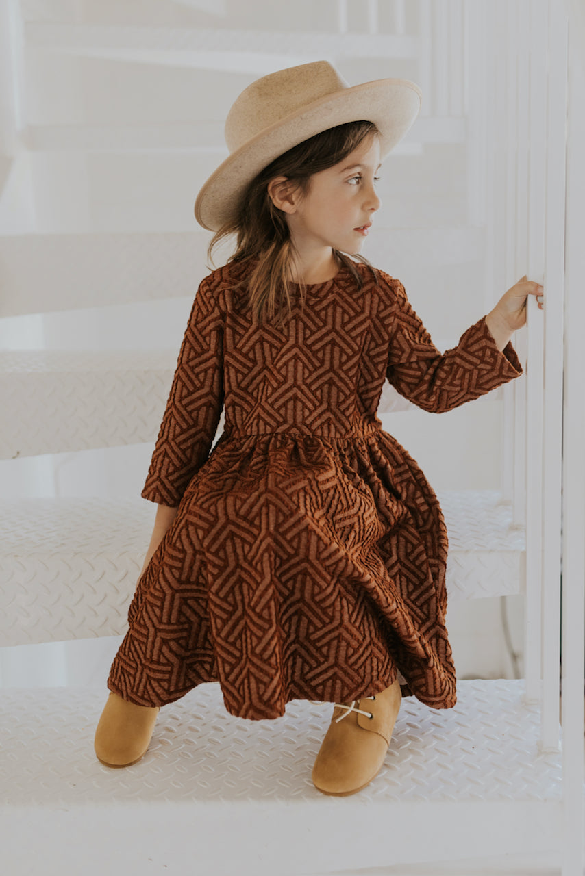 Girls Textured Rust Dress Outfit | ROOLEE