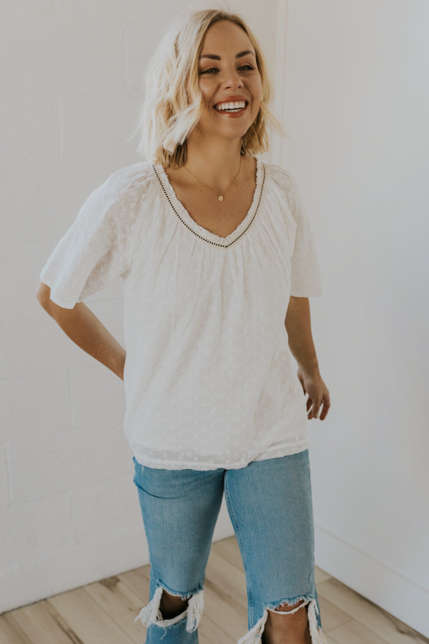 V-neck simple summer tops | ROOLEE