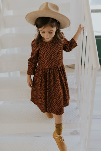 Rust Textured Girls Dress | ROOLEE