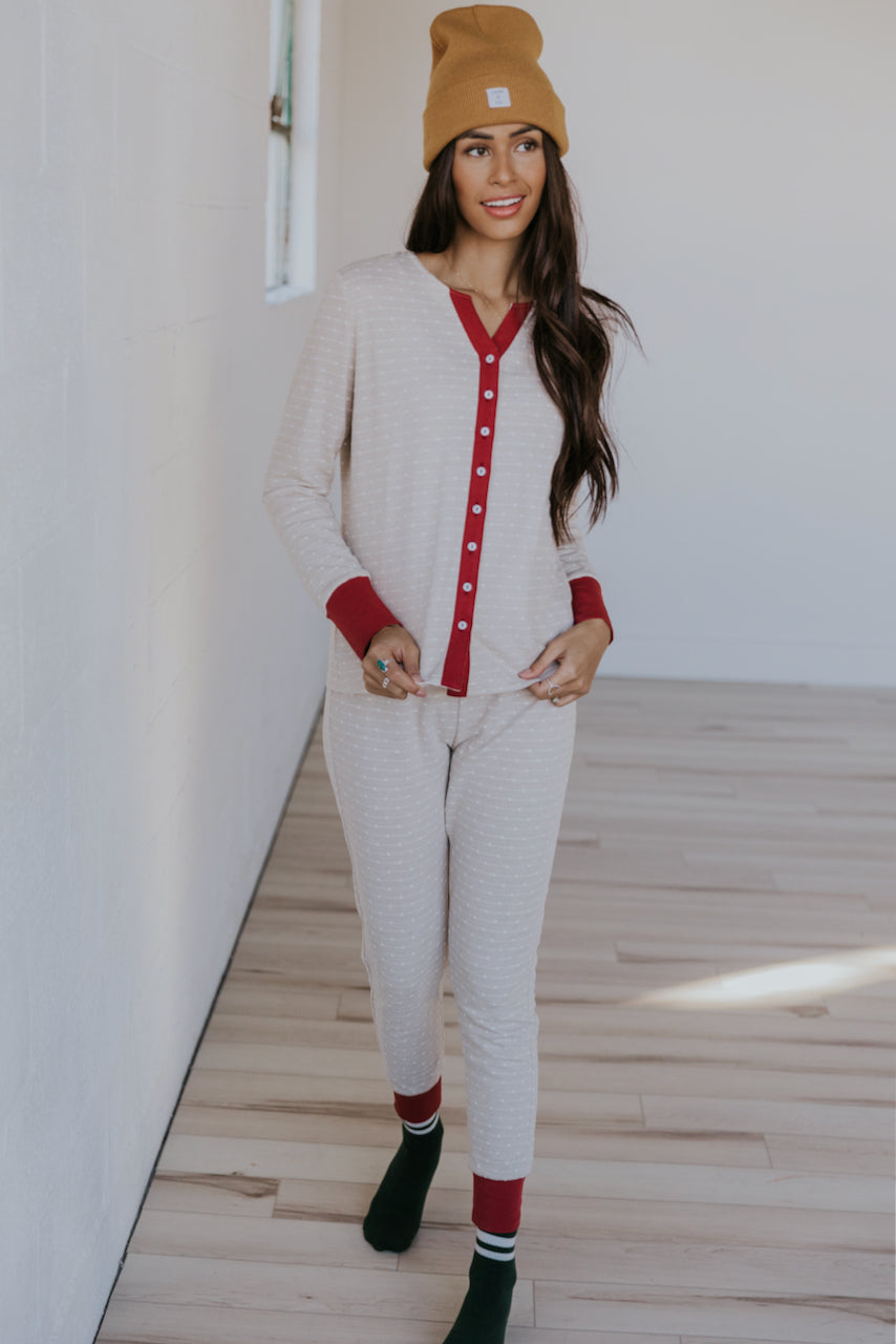 Cream and red christmas womens pajama set | ROOLEE