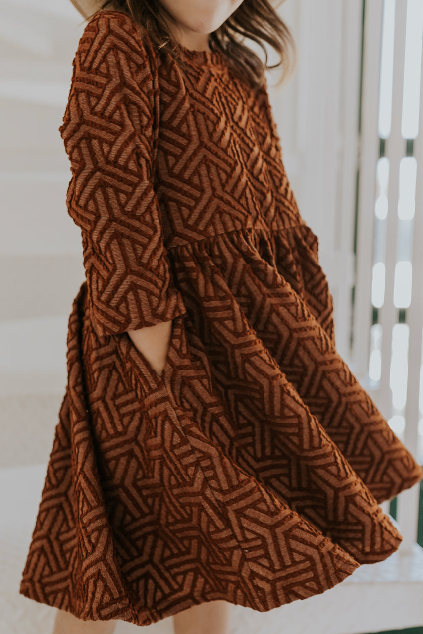 Girls Textured Rust Dress | ROOLEE