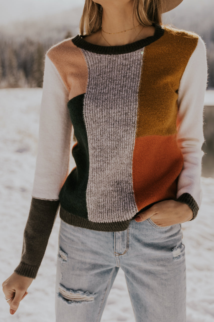 Cute colorblock knit winter sweaters | ROOLEE