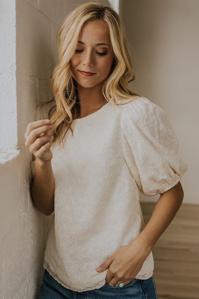 Embroidered Cream Blouse | ROOLEE