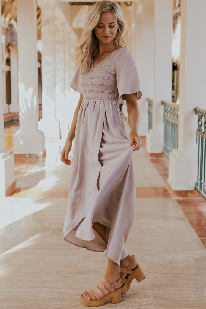 Light Gray Wrap Skirt Bridesmaid Dresses | ROOLEE