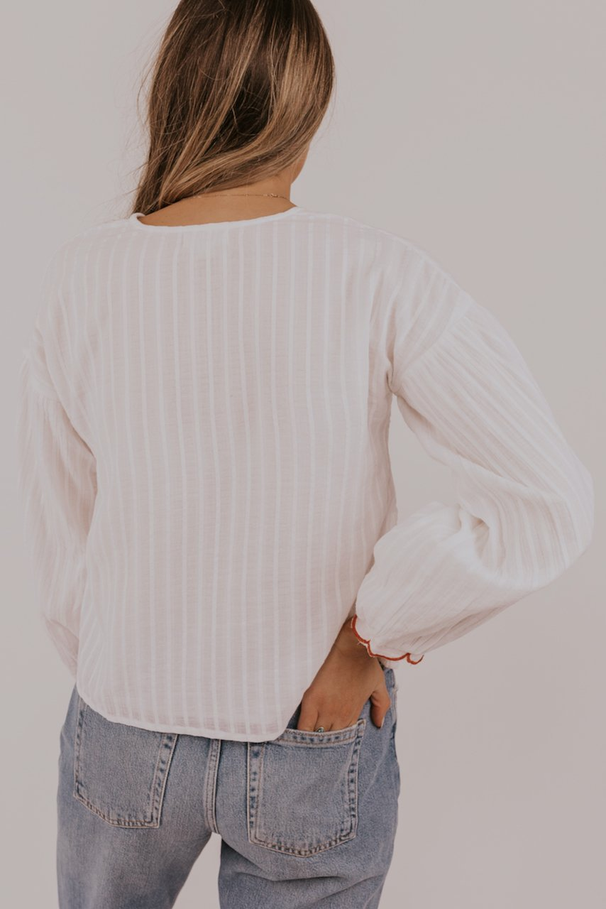 White Texture Blouse | ROOLEE