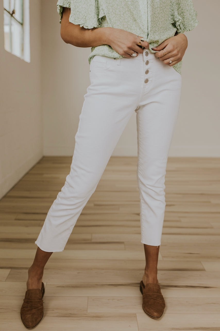 White Button Fly Mid-rise Jeans | ROOLEE