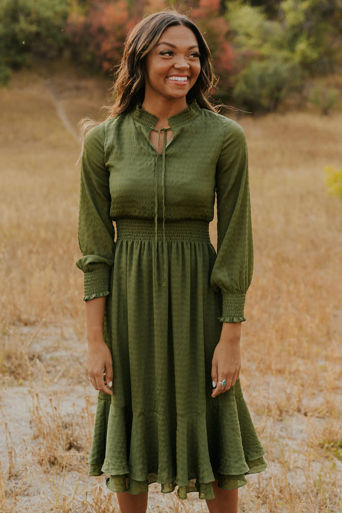 Green midi dress | ROOLEE