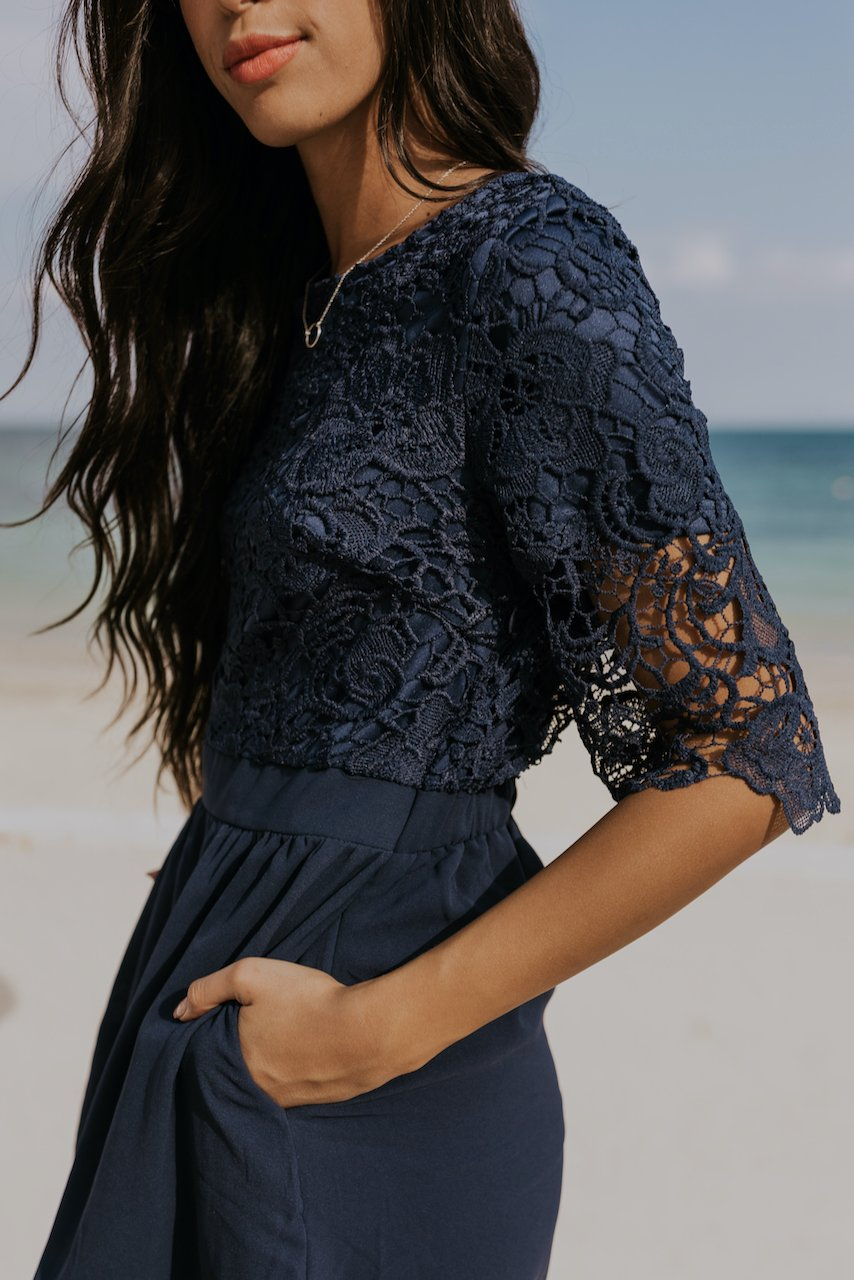 Modest navy lace dress | ROOLEE