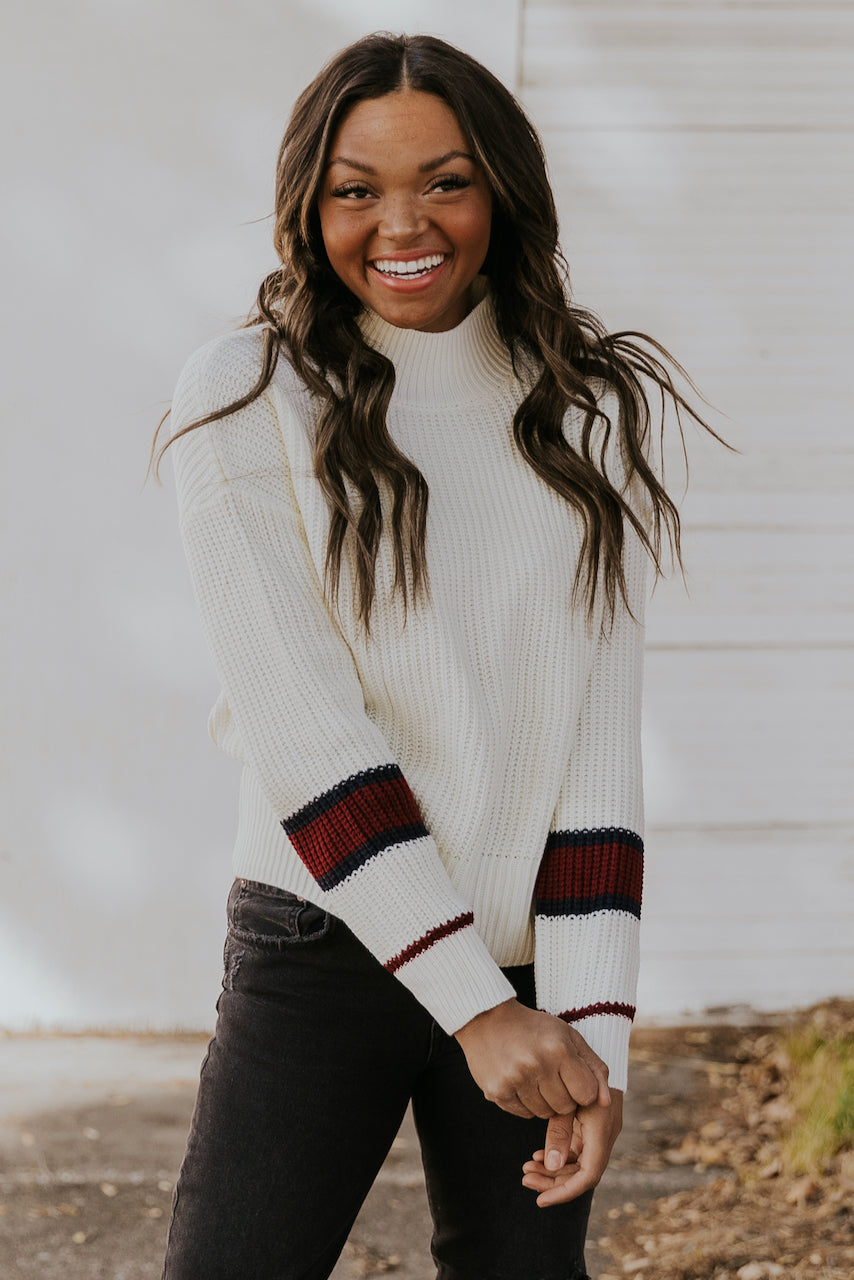 Turtleneck White Stripe Sweater | ROOLEE